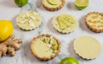 Lime Coconut Tartlets with Ginger Crust