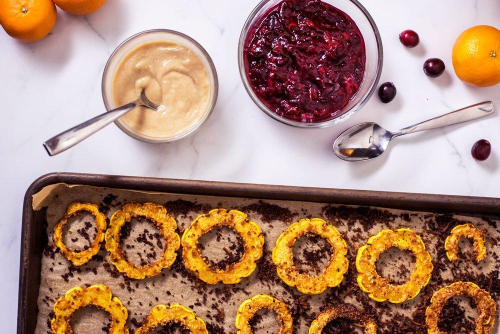 Delicata Squash Rings with Tahini Maple Sauce   Rainbowl Foods