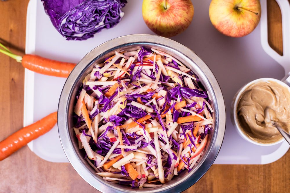 Apple Carrot Cabbage Slaw | Rainbowl Foods