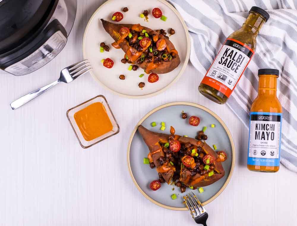 Instant Pot Chickpea Stuffed Sweet Potatoes | Rainbowl Foods
