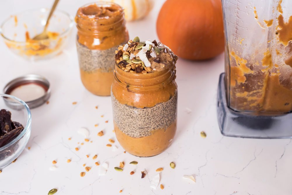 Sweet Potato Pumpkin Smoothie and Chai Chia Seed Pudding Parfait